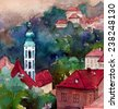 Picturesque czech small town watercolor illustration poster oil painting canvas architectural hand drawing background textile pattern post card book sketch - stock photo