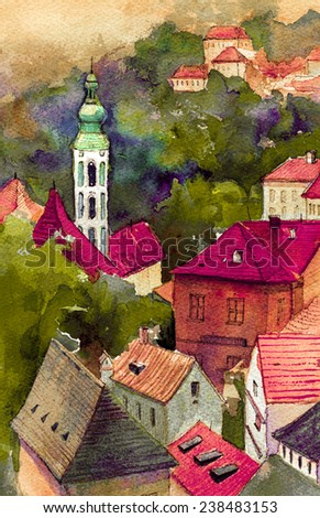 Picturesque czech small town watercolor illustration poster oil painting canvas architectural hand drawing background textile pattern post card book sketch