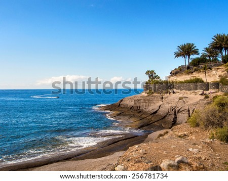 Picturesque El Duque beach inTenerife. Canary islands, Spain - stock photo