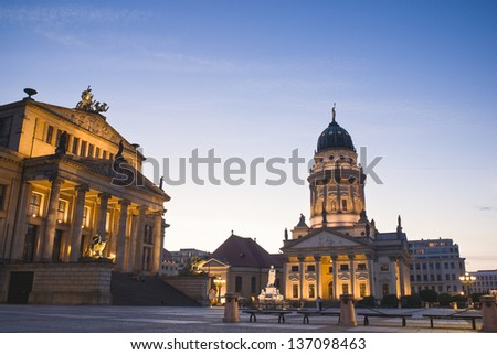 Picturesque Gendarmenmarkt paved Neoclassical square popular with both Berliners and tourists.