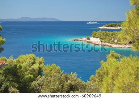 Picturesque gorgeous summer landscape of Dalmatian coast, Croatia - stock photo