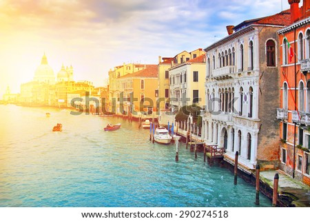 Picturesque Grand Canal in Venice, Italy. It is one of the most popular touristic destinations in the world. Color toning effect applied. - stock photo