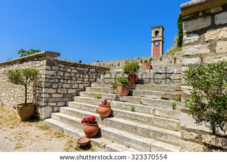 Picturesque inner territory of Old Fortress of Corfu, Greece.  - stock photo