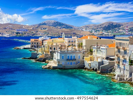 "Picturesque island Syros - view of popular part ""Little Venice"""