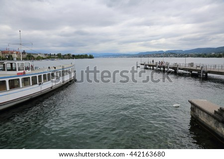 Picturesque lake in Zurich, Switzerland on a cloudy day