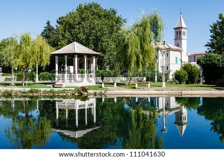 Picturesque Landscape, Church, Pavilion, River and Willow, Solin, Croatia