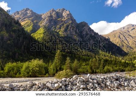 Picturesque landscape of Caucasus mountains in Georgia - stock photo