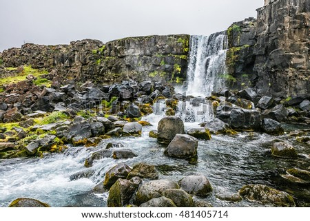Picturesque landscape of the Waterfall in Iceland