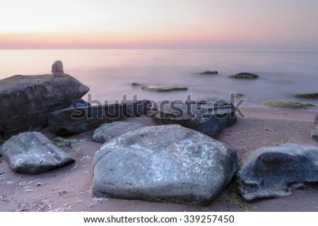 Picturesque landscape sea coast with boulders  - stock photo