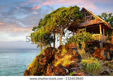 Picturesque landscape with hut. Apo island, Philippines - stock photo