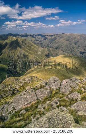 Picturesque landscape with mountain peaks in Capilla del Monte in Argentina, South America - stock photo