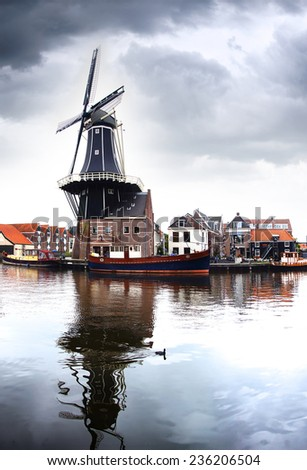 Picturesque landscape with the windmill. Haarlem, Holland    - stock photo