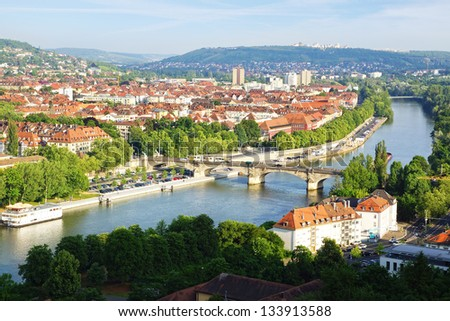 Picturesque landscape with Wurzburg, old town. Germany - stock photo