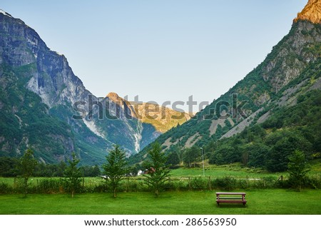 Picturesque lanscape of mountains in Norway
