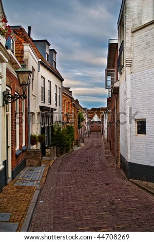 Picturesque little street in Goes, Zeeland (The Netherlands) - stock photo