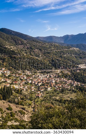 Picturesque mountain traditional village in Arcadia, Greece