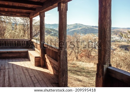 Picturesque mountain view from terrace in Georgia, Caucasus. Toned picture - stock photo