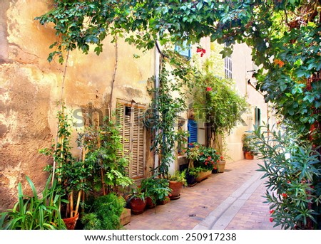 picturesque narrow alley at a village in the provence , France   - stock photo