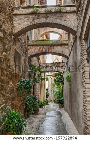 picturesque narrow alley with ancient arches and pot plants in Bevagna, Umbria, Italy
