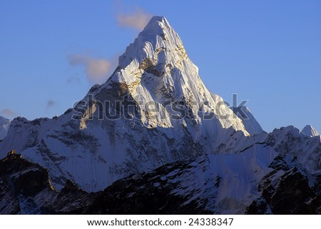 Picturesque nepalese landscape with Ama Dablan 6856 - stock photo