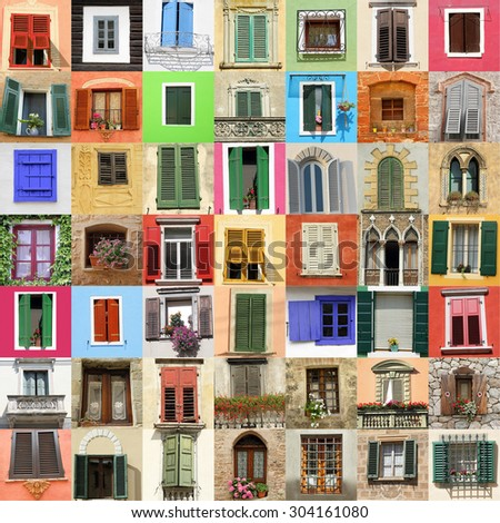 picturesque old fashion windows collage,Italy,Europe - stock photo
