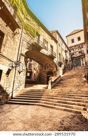 Picturesque old quarter streets of Girona, Costa Brava. - stock photo