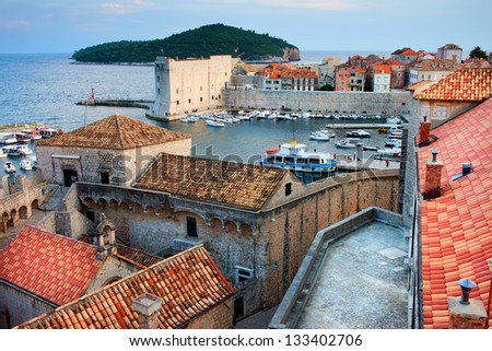 Picturesque Old Town of Dubrovnik at sunset time in Croatia, Dalmatia region.
