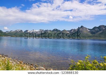 Picturesque panorama on Lofoten Islands towards island of Vestvagoy - stock photo
