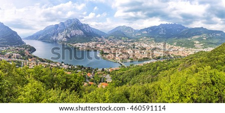 Picturesque panoramic aerial view of Lake Como and Lecco city, Lombardy province, Italy