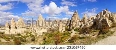 Picturesque rural landscape with limestones, Cappadocia in Turkey. - stock photo