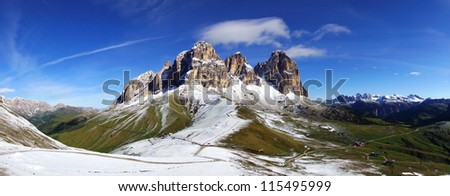 Picturesque rural  landscape with Sassolungo. Italy Panorama