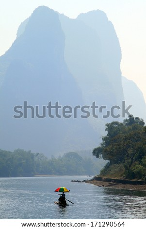 picturesque scenery on the Li River, Guangxi Province, Guilin - stock photo