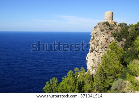 Picturesque sea landscape with fort ruins. Mallorca, Spain - stock photo