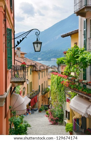 Picturesque small town street view in Bellagio, Lake Como Italy - stock photo