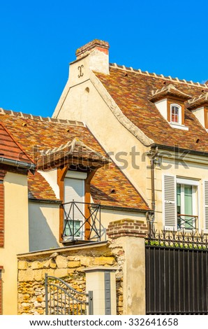 Picturesque small town street view in Roissy En France, Paris, France.