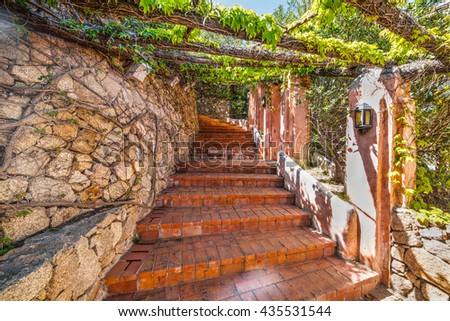 Picturesque stairs in Sardinia, Italy - stock photo