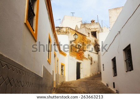 picturesque  street in  Arcos de la Frontera,  Spain