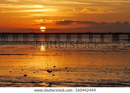 Picturesque sunset above the river Thames, Southend-on-Sea, England  - stock photo