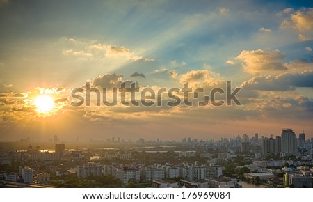 Picturesque sunset in megalopolis Bangkok, Thailand, Asia - stock photo