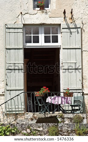 Picturesque table in France, ready for lunch - stock photo