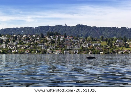 picturesque town on the shores of Lake Zurich, Switzerland