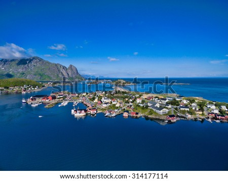 Picturesque town Reine on Lofoten islands in Norway, scenic aerial view - stock photo
