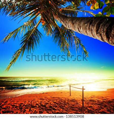Picturesque view of amazing tropical beach. Square composition. - stock photo