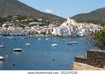 Picturesque view of Cadaques village on Costa Brava, Spain - stock photo