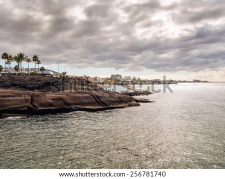 Picturesque view of El Duque and popular canarian resort Playa de Las Americas in Tenerife. Canary islands, Spain - stock photo
