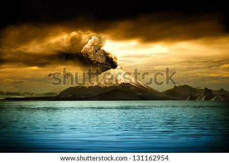 Picturesque view of erupting volcano - illustration - stock photo