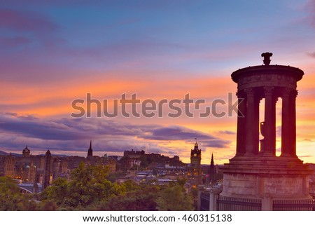 Picturesque view of evening Edinburgh old town at sunset with the Castle from Calton hill , Scotland, UK