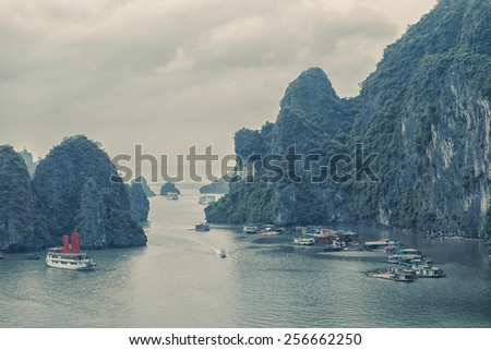 Picturesque view of Halong Bay, Vietnam. Unesco World Heritage Site - stock photo