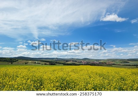 Picturesque view of hilly countryside area with rapeseed filed in the foreground - stock photo