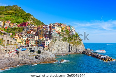 Picturesque view of Manarola, Laguria, Italy in the sunny summer day - stock photo